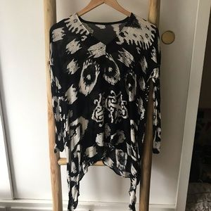 All Saints black and white blouse